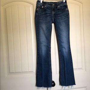 Miss Me Fleur de Lis Blue Jeans